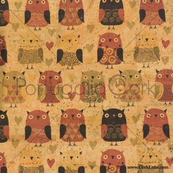 Cork fabric printing Owls